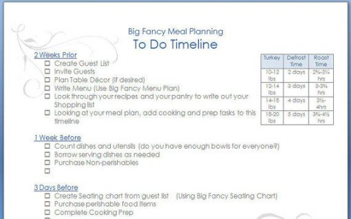 Thanksgiving, Christmas, Easter Meal Planner
