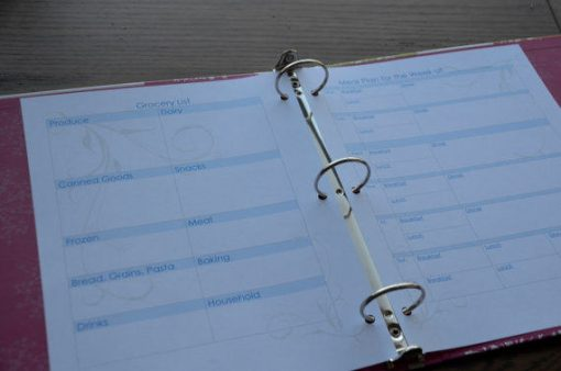 Grocery List Meal Planner in Notebook