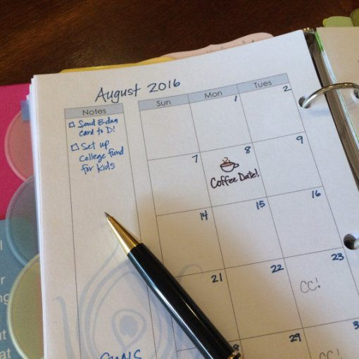Perpetual Half-size Monthly Planner