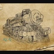 hand drawn train