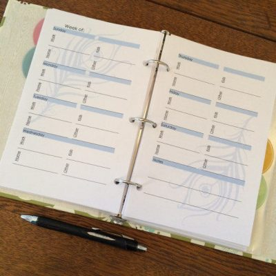 Weekly Planner 4 Topic Binder