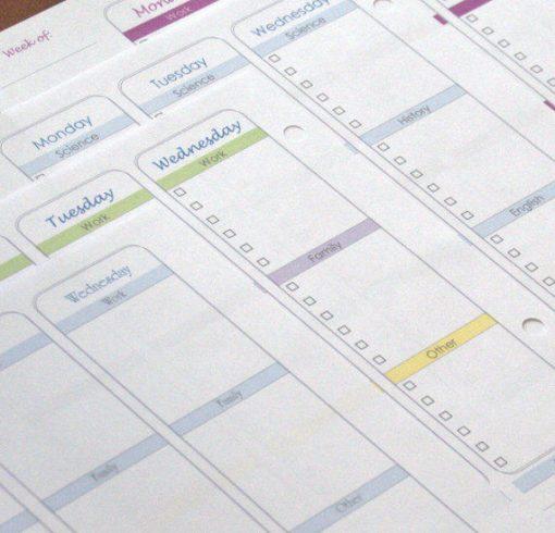 Vertical Weekly Planner