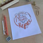 Hand lettered Phil 4_4 Rejoice in the Lord