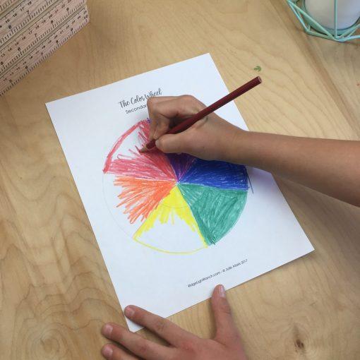Colored pencil color wheel
